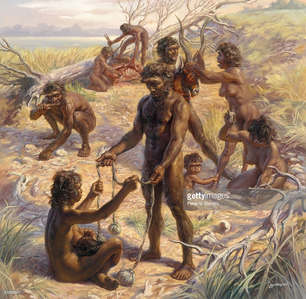 Prehistoric Chellean Hunters Engage In Domestic Tasks At A