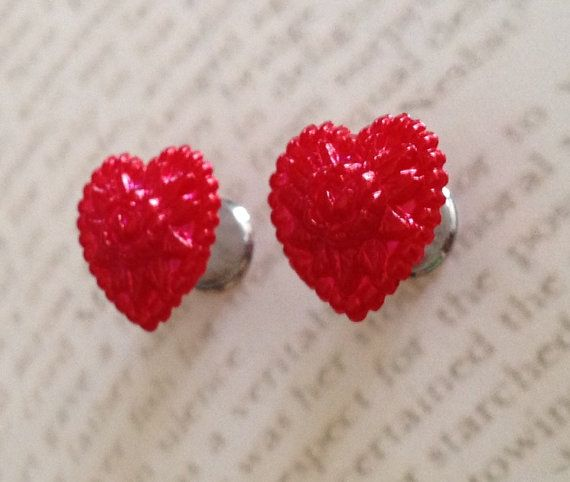 Vintage Pinup Style Heart Racy Red plug earrings 0 by SheMused, $18.00