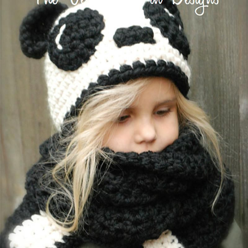 94a7480eaa6 2019 Kids Cap Scarf Set Wool Knitted Caps Lovely Panda Design Hat Ring  Scarf 2 In 1 Children Autumn Winter Warm Baby Girls Boys NNA779 From ...