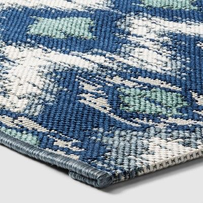7 X 10 Ikat Cool Outdoor Rug Blue