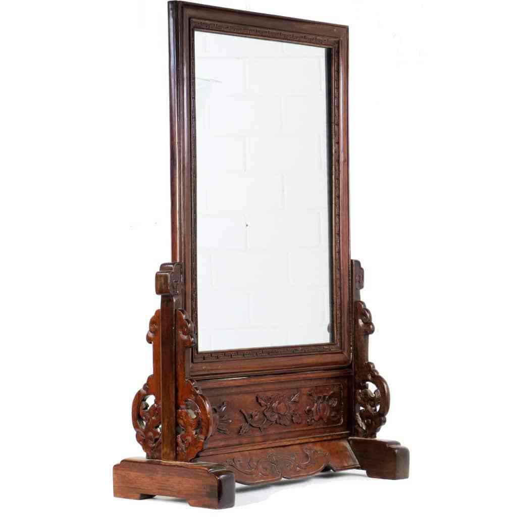 Antique Chinese Carved Wood Table Mirror And Stand Wood Mirror