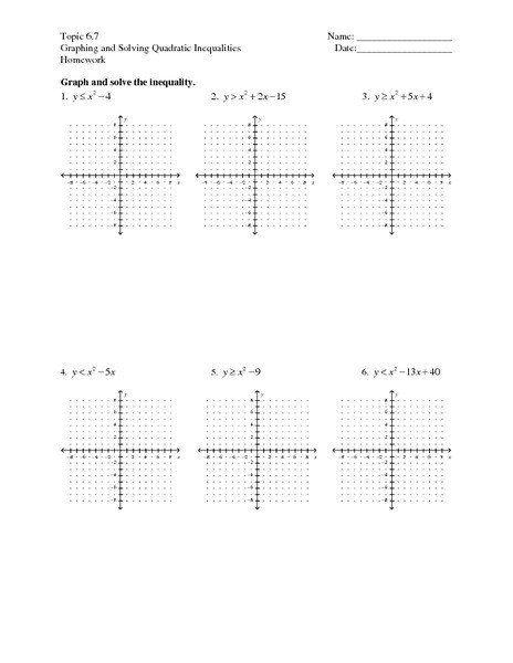 Solving Quadratic Inequalities Worksheet topic 6 7 ...
