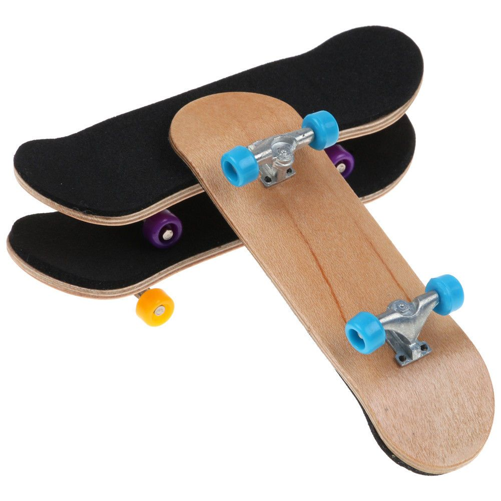 Complete Wooden Deck Fingerboard Skateboard Maple Wood with Bearings Kids Gift