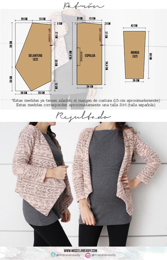 Patrón para hacer esta chaqueta de picos, ¡muy fácil! | hacer ropa ...