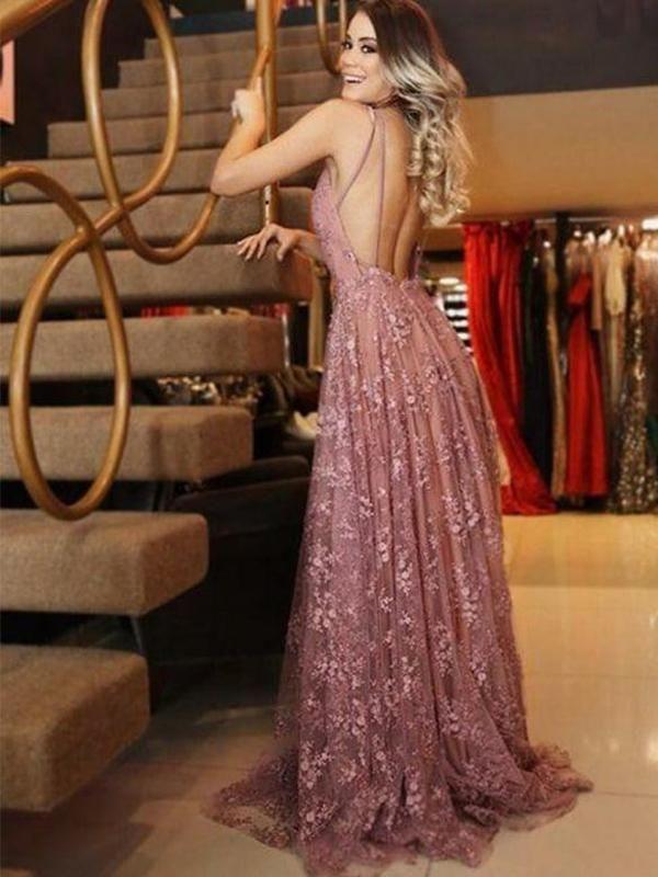 ccc91510a4 Boho Lace Long Low Back A-line Summer Prom Dress Evening Dress ...