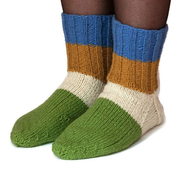 Blue, white, mustard, green color 100% pure wool socks ...