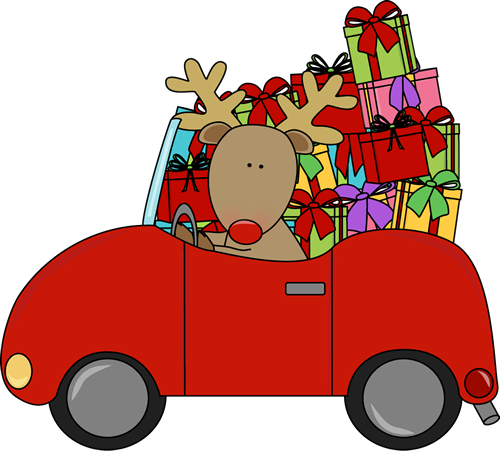 Reindeer driving a car full of Christmas gifts. | Christmas Clip ...