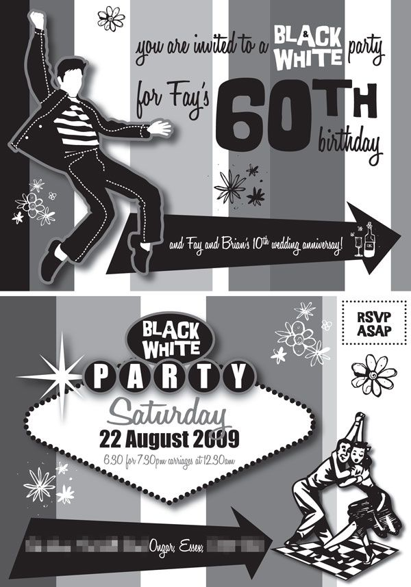 The front and reverse of our invitation to fay and brians 1950s the front and reverse of our invitation to fay and brians 1950s themed black and white party filmwisefo