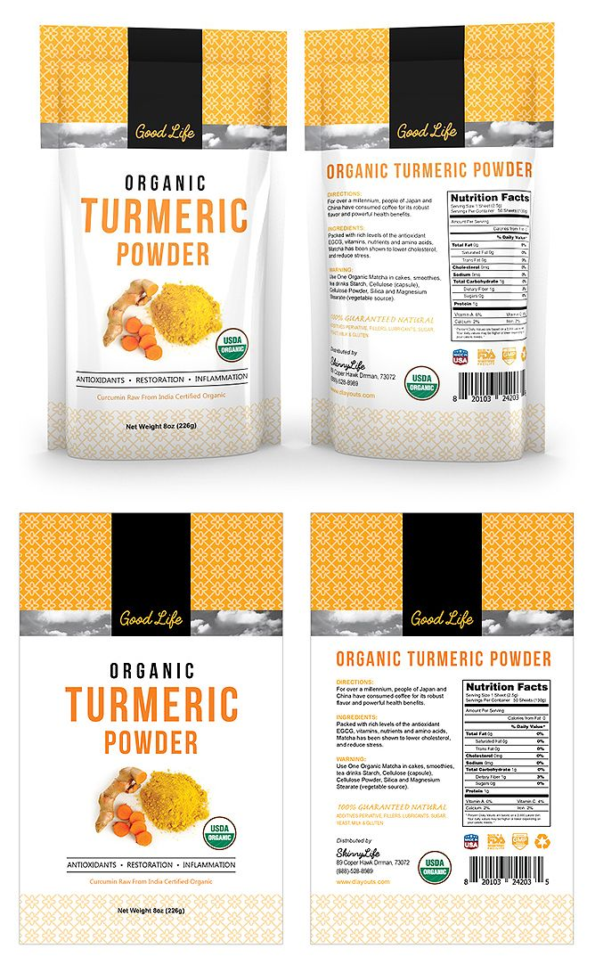 Organic Turmeric Curcumin Powder Label Template  Creative