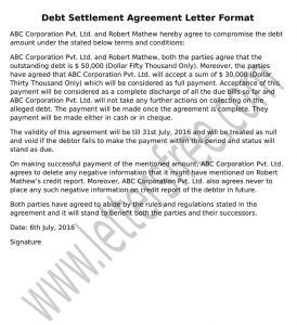 Sample Agreement Letter For Debt Settlement To Write A Perfect