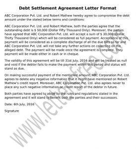 debt settlement agreement sample