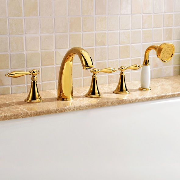 Gold Bath Shower Mixer Filler Tap 5 Hole Roman Tub Faucets