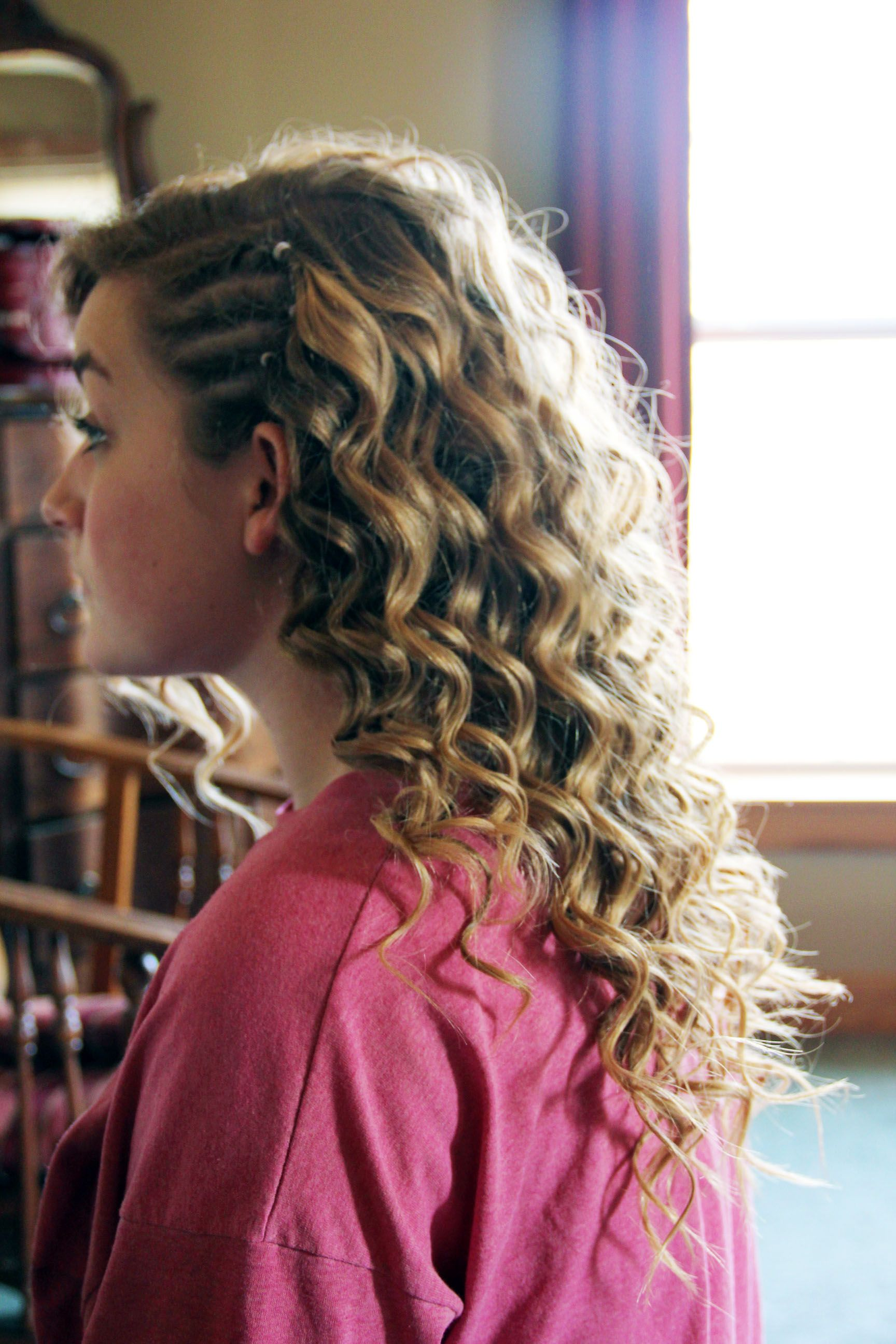 Cute corn rolls with beautiful curls Model Sarah Beck PC Me