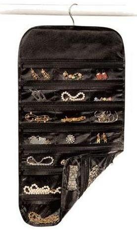Richards Homewares Satin Thirty Seven Pocket Jewelry OrganizerBlack