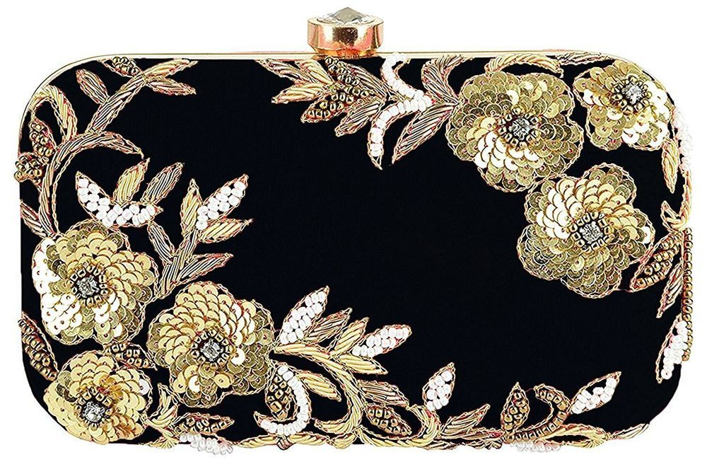 Blue Floral Purse Evening Clutch Indian Ethnic Party Embroidered Potli Hand Bag