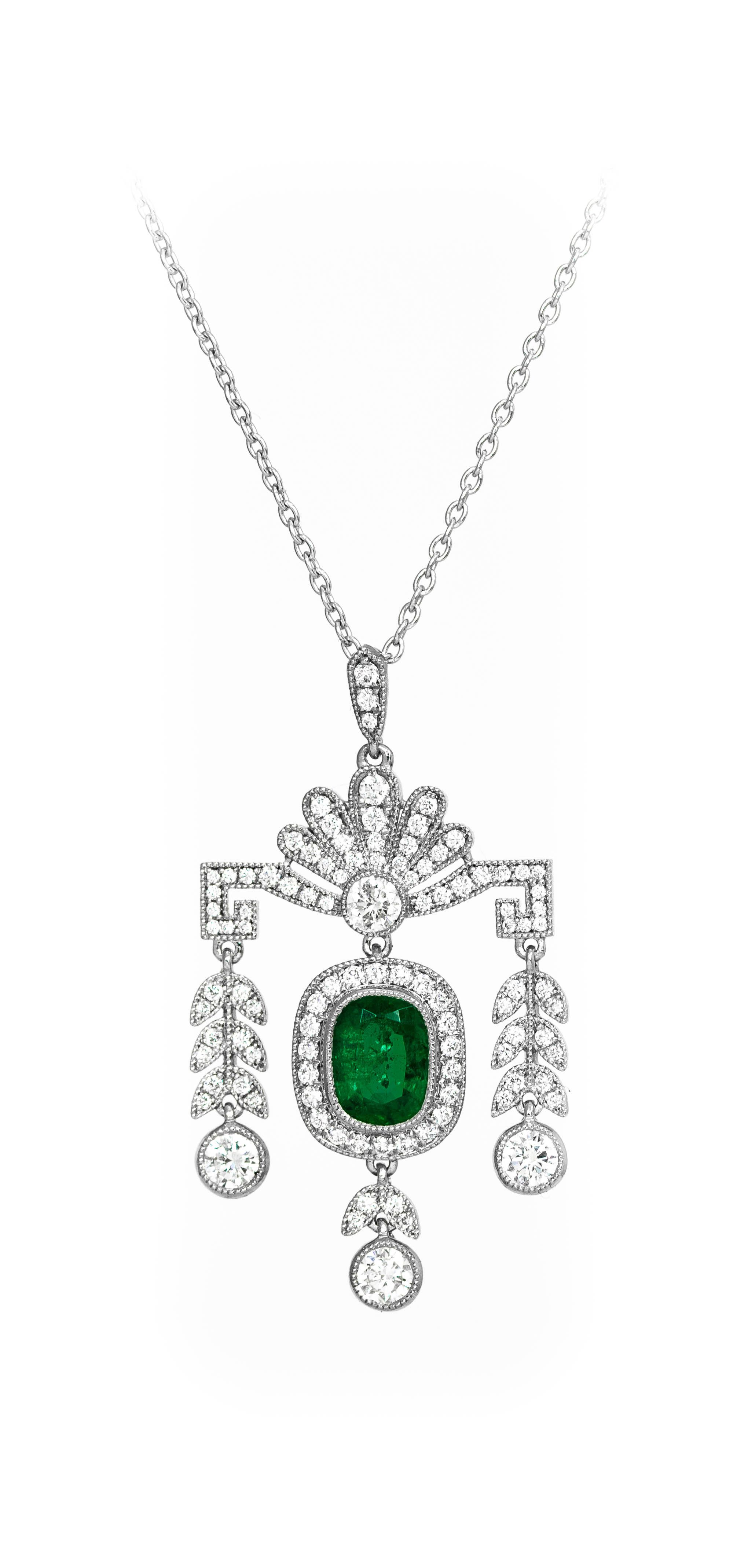 Platinum Mounted 0 93ct Oblong Cushion Cut Emerald And
