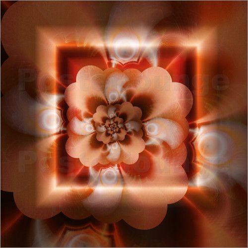 Fraktale Blüte orange Poster von Christine Bässler