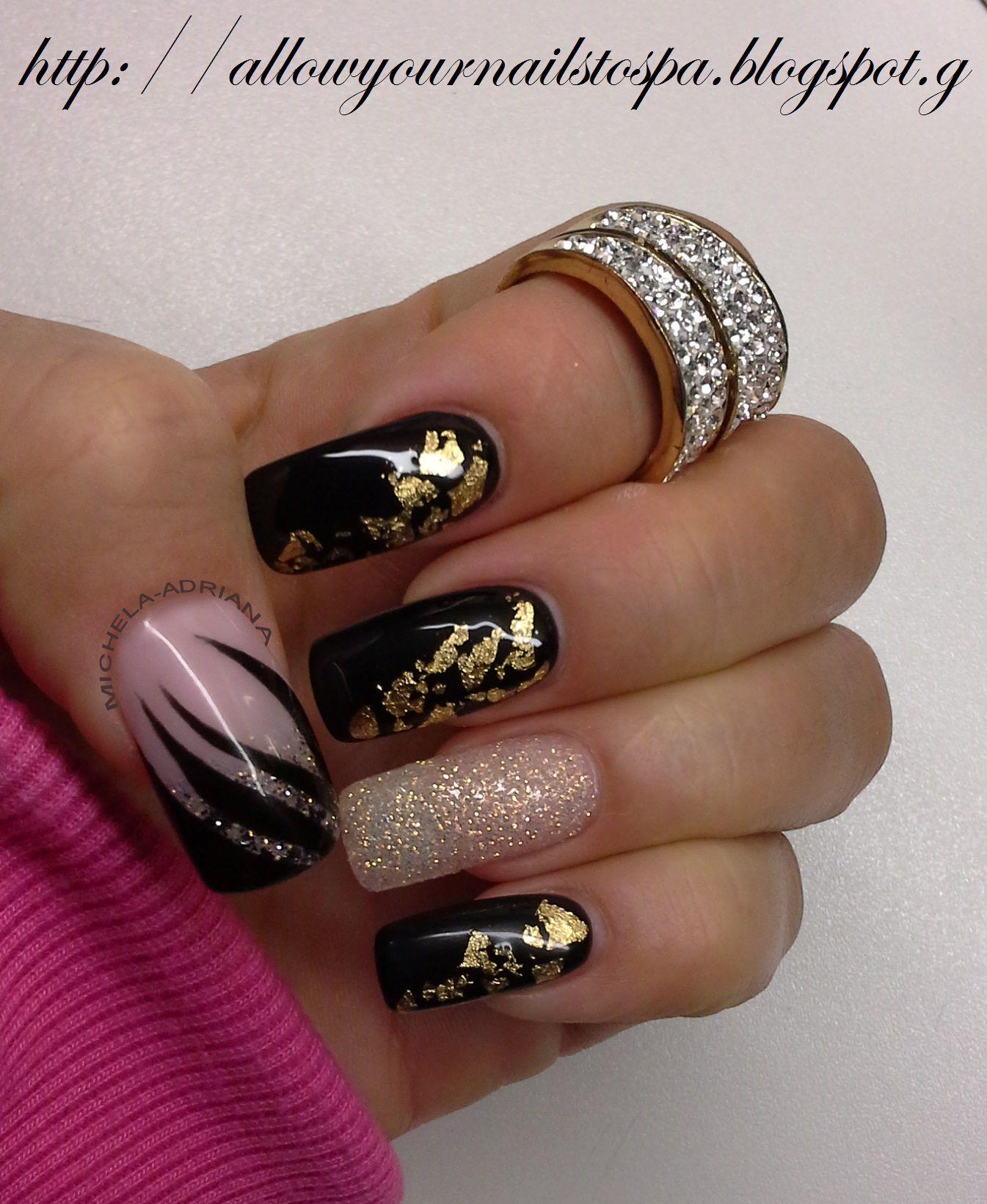 φυσική ενίσχυση, natural grow long, gel, nail art gold foils ...