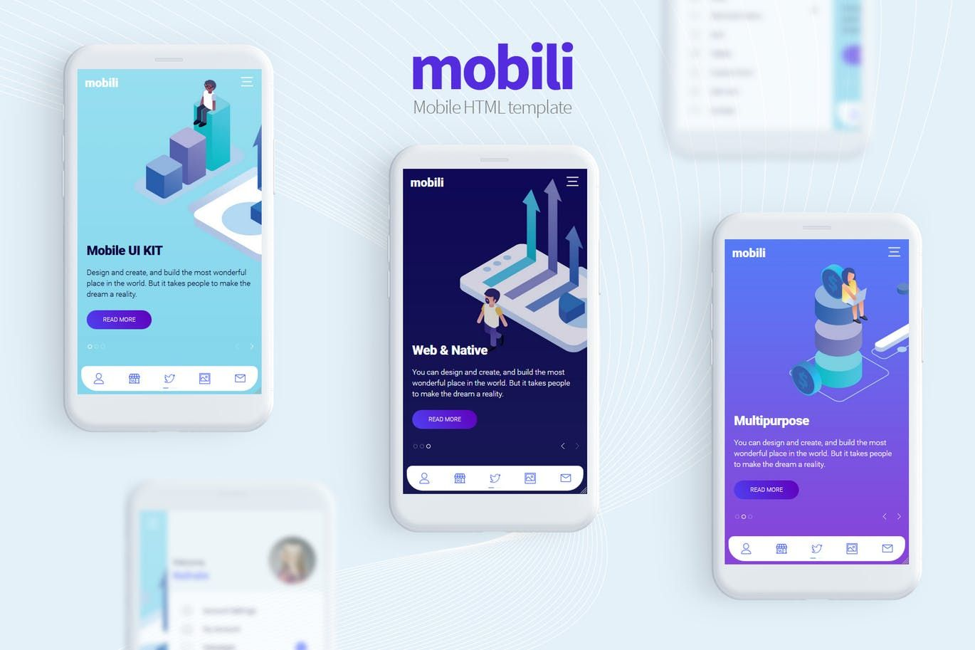 Mobili Html Mobile Template By Mobiokit On Envato Elements Mobile Template Mobile Website Template Mobile Project