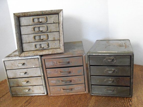 RESERVED for Kim Industrial Metal Tool Drawers  4 Drawer by toby11