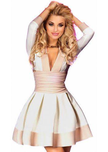 White short sleeved skater dress