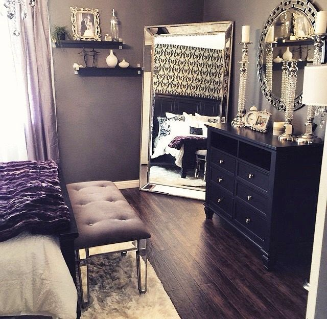 black and white and purple bedroom. beautiful bedroom decor  black dresser silver mirror candles and white Instagram Post by Z Gallerie zgallerie Bedrooms Lights Room