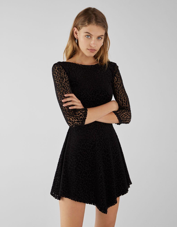 ff47ae8202c4 Φόρεμα skater υφή λεοπάρ