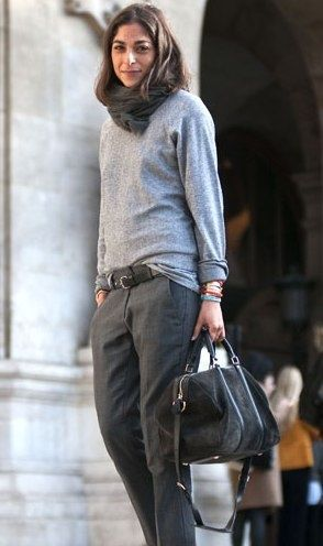 Grey sweatshirt, scarf and mannish pants. Perfect.