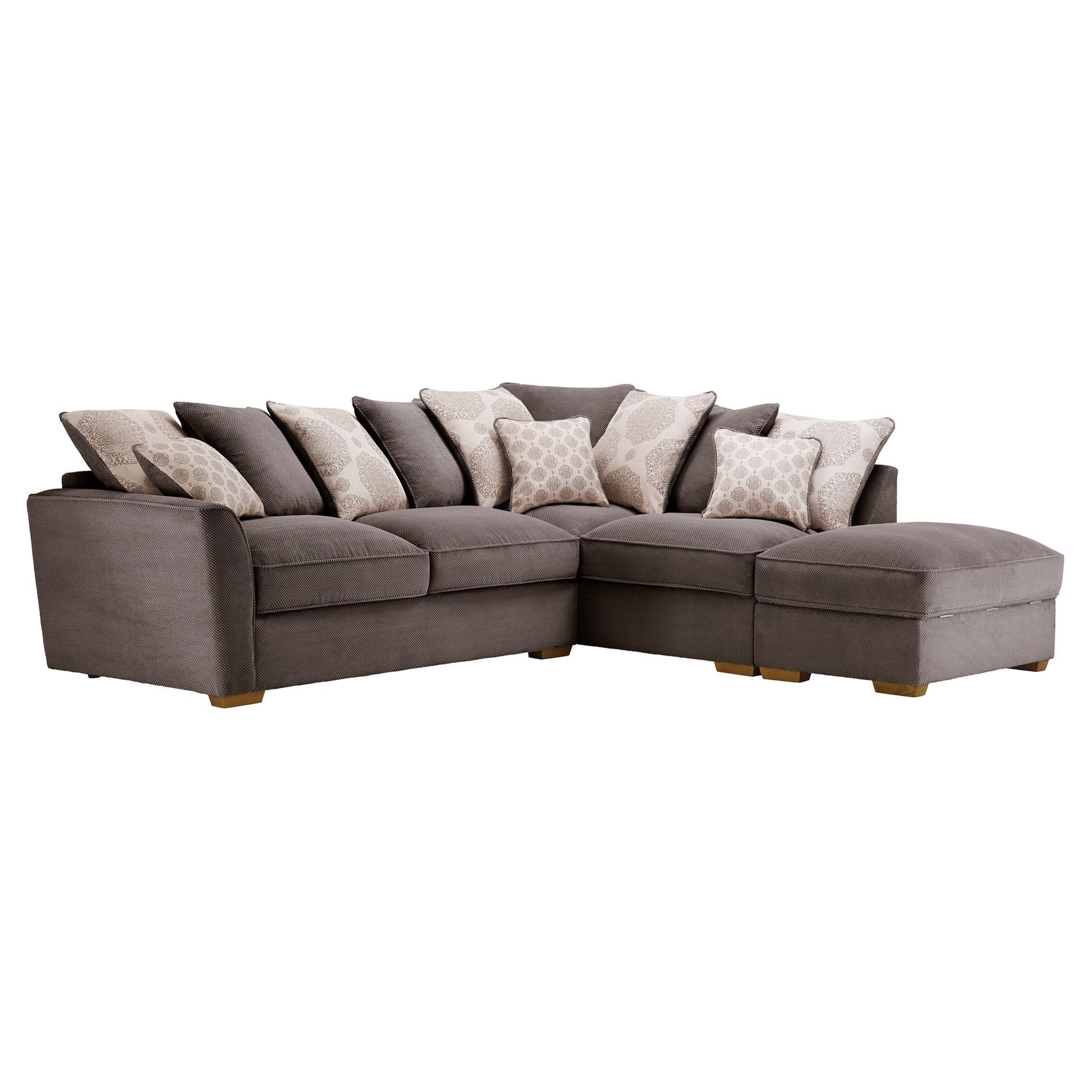 Nebraska Corner Pillow Back Sofa With Storage Footstool Left Hand In Aero Charcoal With Silver Corner Sofa With Storage Corner Sofa And Footstool Sofa Storage
