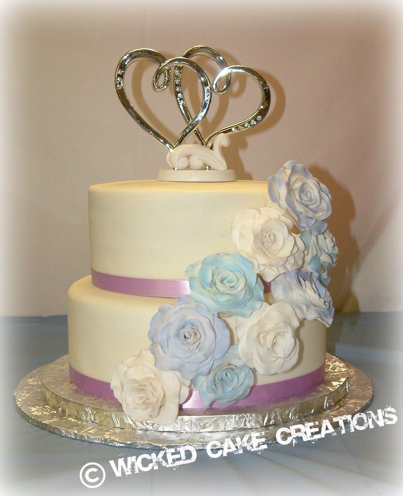 Small Two Tier Buttercream Wedding Cake With Gumpaste Flowers - Wicked Wedding Cakes