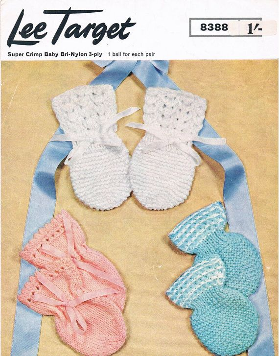 PDF Vintage Knitting Pattern 1960s Baby Mittens by ...