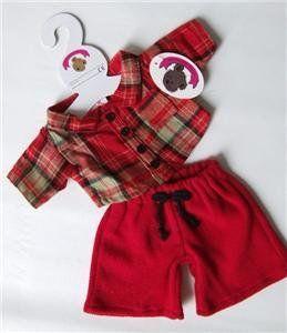 Teddy Bear Clothes fits Build a Bear Teddies Red Hooded Jacket White FunFur Trim