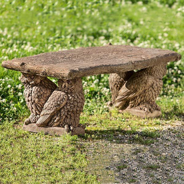 Owl Stone Bench LBOE124 Birding From Birdhouses to Birdbaths - pinterest halloween yard decor