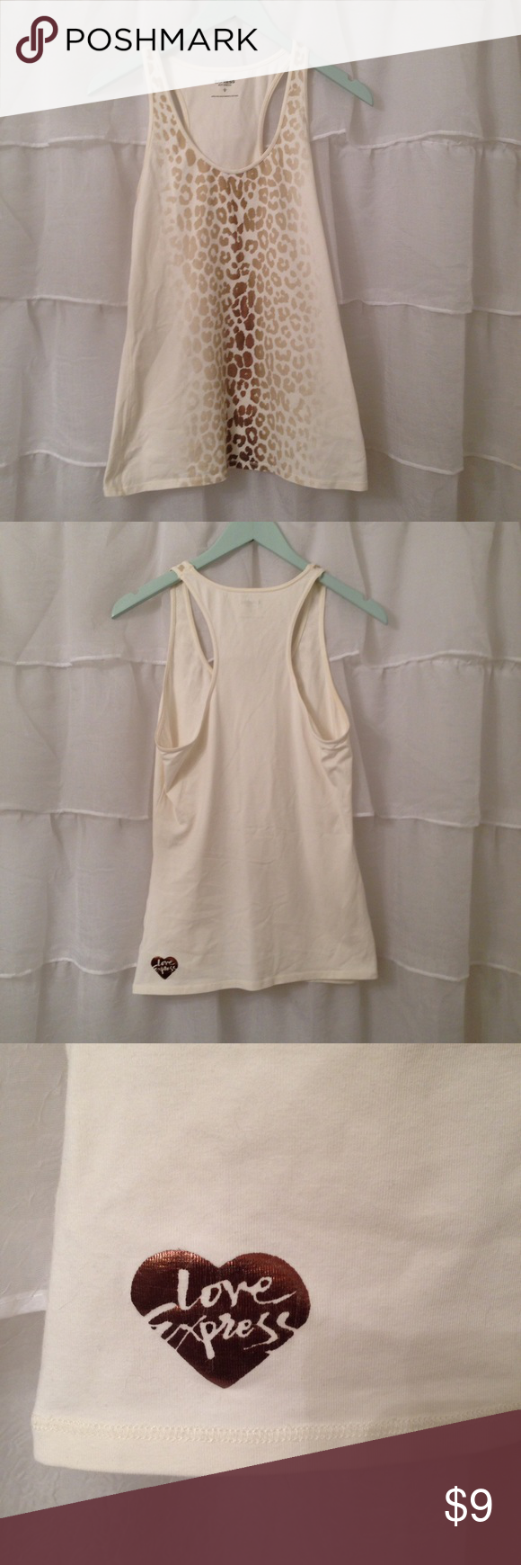 Express Animal Print Tank size Large This tank top is a cream color with gold animal print. It is a size large purchased from Express. Super comfortable!l and soft!! Express Tops Tank Tops