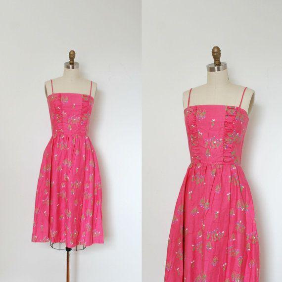 Vintage 1980s Dress / 80s Pink Floral Cotton by lapoubellevintage