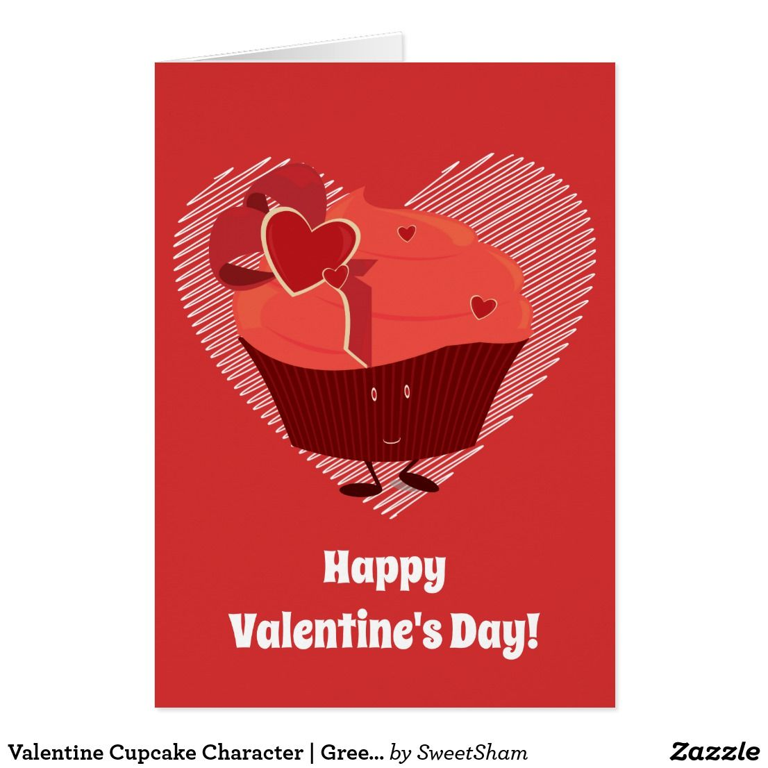 Valentine Cupcake Character Greeting Card