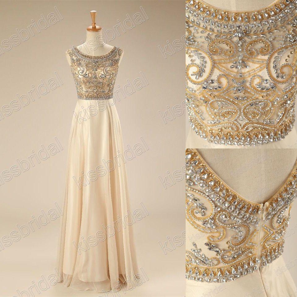 Cap sleeve boat neck gold bead formal evening dresses long prom ball
