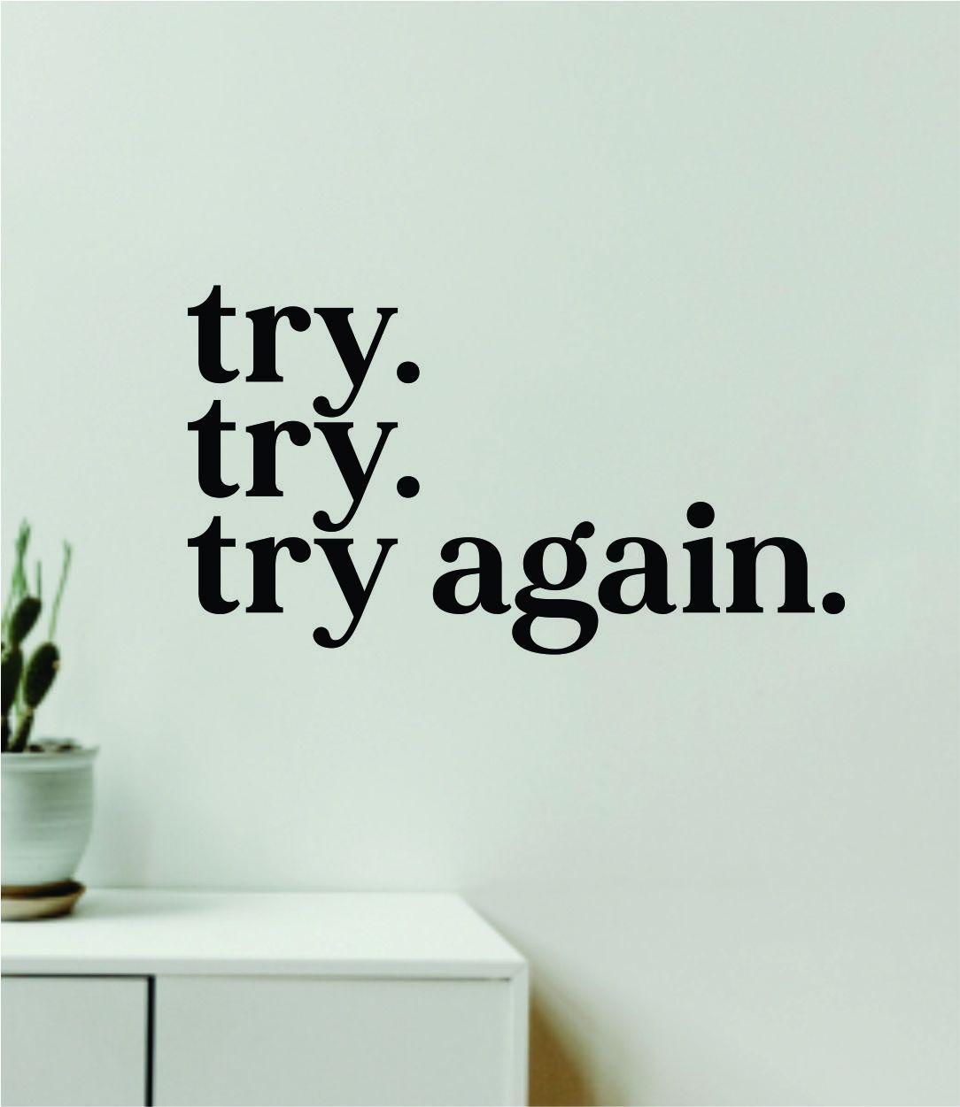 Try Try Try Again Quote Wall Decal Sticker Vinyl Art Decor Bedroom Room Girls Inspirational Motivational School Nursery Baby Sports Gym Fitness - red
