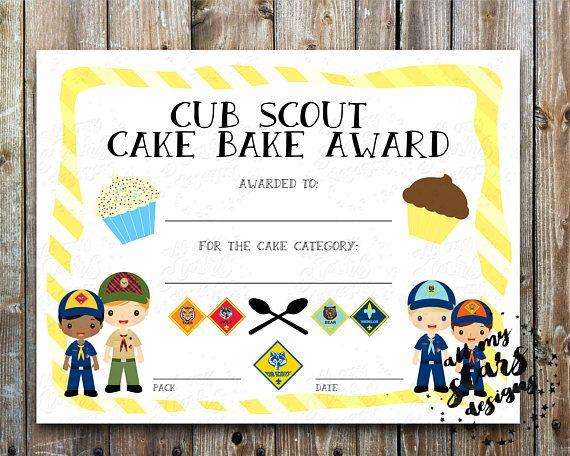Cub Scout Cake Bake Award BLANK Certificate - 85x11 - award certificates pdf