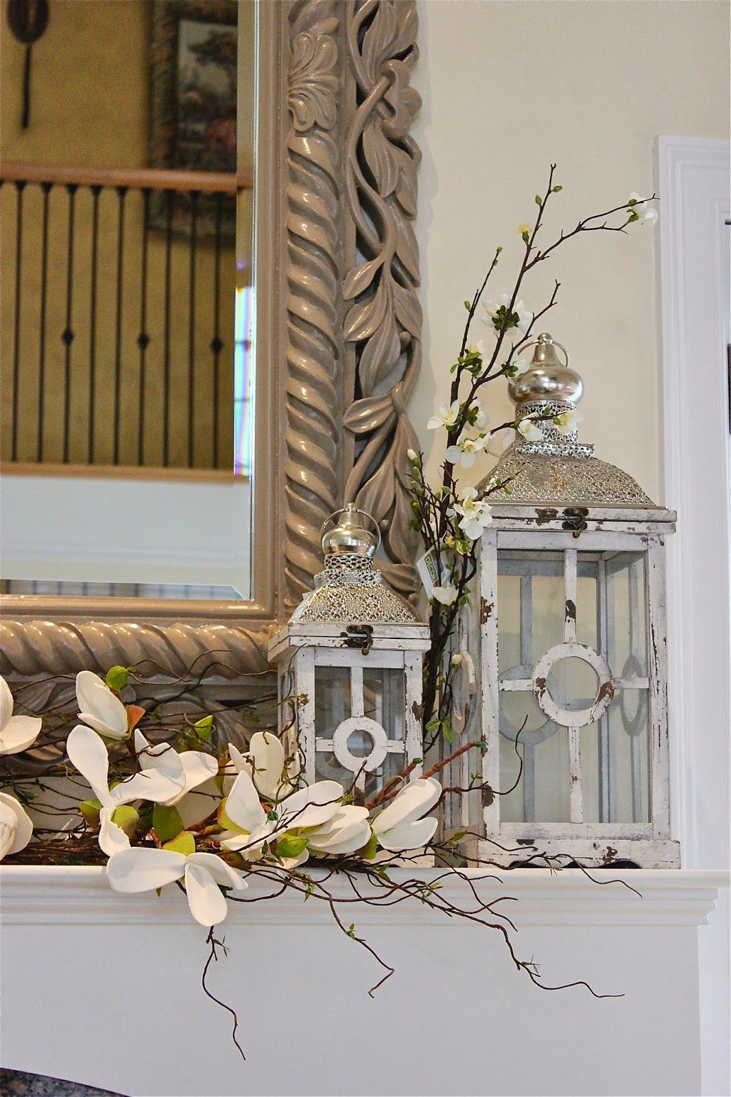 Styling A Mantle With Lanterns And Florals