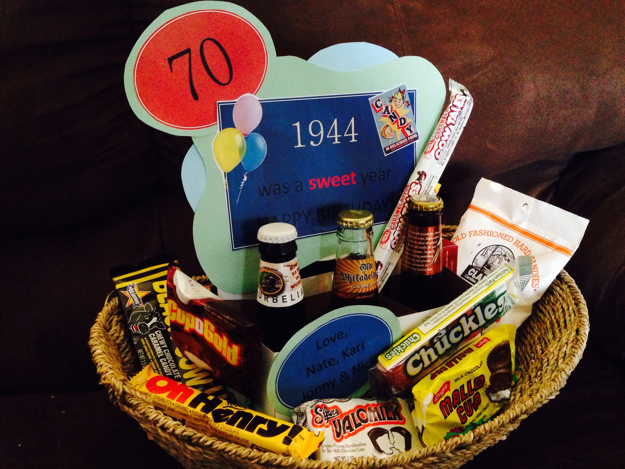 70th Birthday Gift Idea 1944 Was A Sweet Year Basket Filled With Vintage Candy And Bottle Of Pop Labels