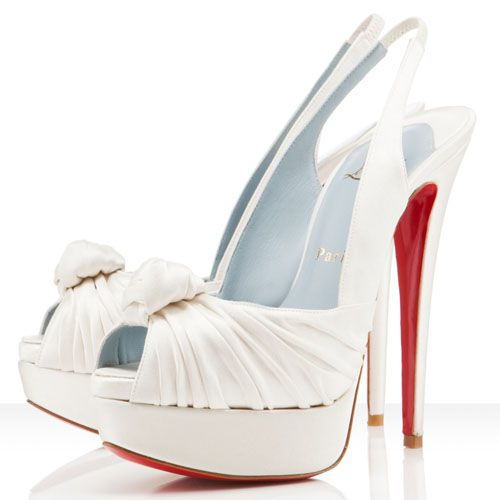 Exceptional #Christian Louboutin Jenny 150mm Satin Slingbacks Off White #Wedding Shoes