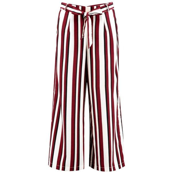 89c2e124b111 Boohoo Night Amera Tie Waist Woven Stripe Wide Leg Crop Trousers ($35) ❤  liked on Polyvore featuring pants
