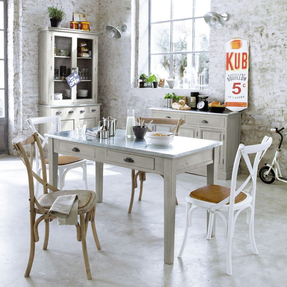 table d ner zinc maisons du monde maison de campagne. Black Bedroom Furniture Sets. Home Design Ideas