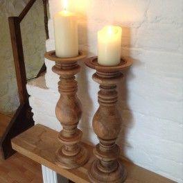 Chunky Wooden Candlesticks Wooden Candle Sticks Brick Fireplace Decor Candlesticks