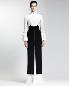 Alexander McQueen Long-Sleeve Silk Blouse, Long Bead-Trim Leaf Crepe Skirt & Velvet Cathedral Belt