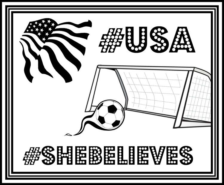 FREE USA Womens Soccer Printable Coloring Page SheBelieves