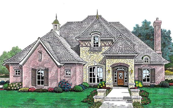 French Country Style House Plan 66211 With 4 Bed 4 Bath 3 Car