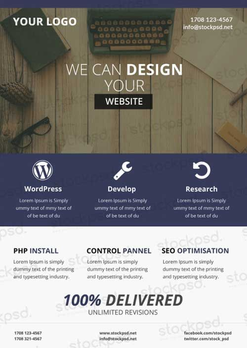 Web Design Business Free PSD Flyer Template - http\/\/freepsdflyer - web flyer
