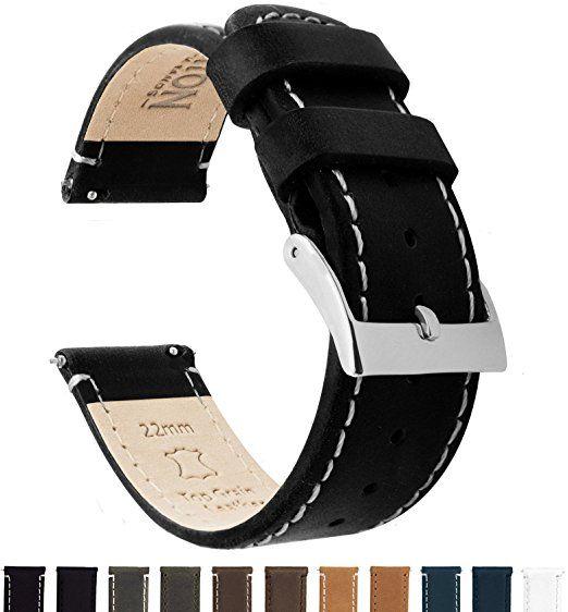 BARTON Quick Release - Correas de reloj de alta calidad cuero de 22mm  Negro Blanco 16aa5e5ea453